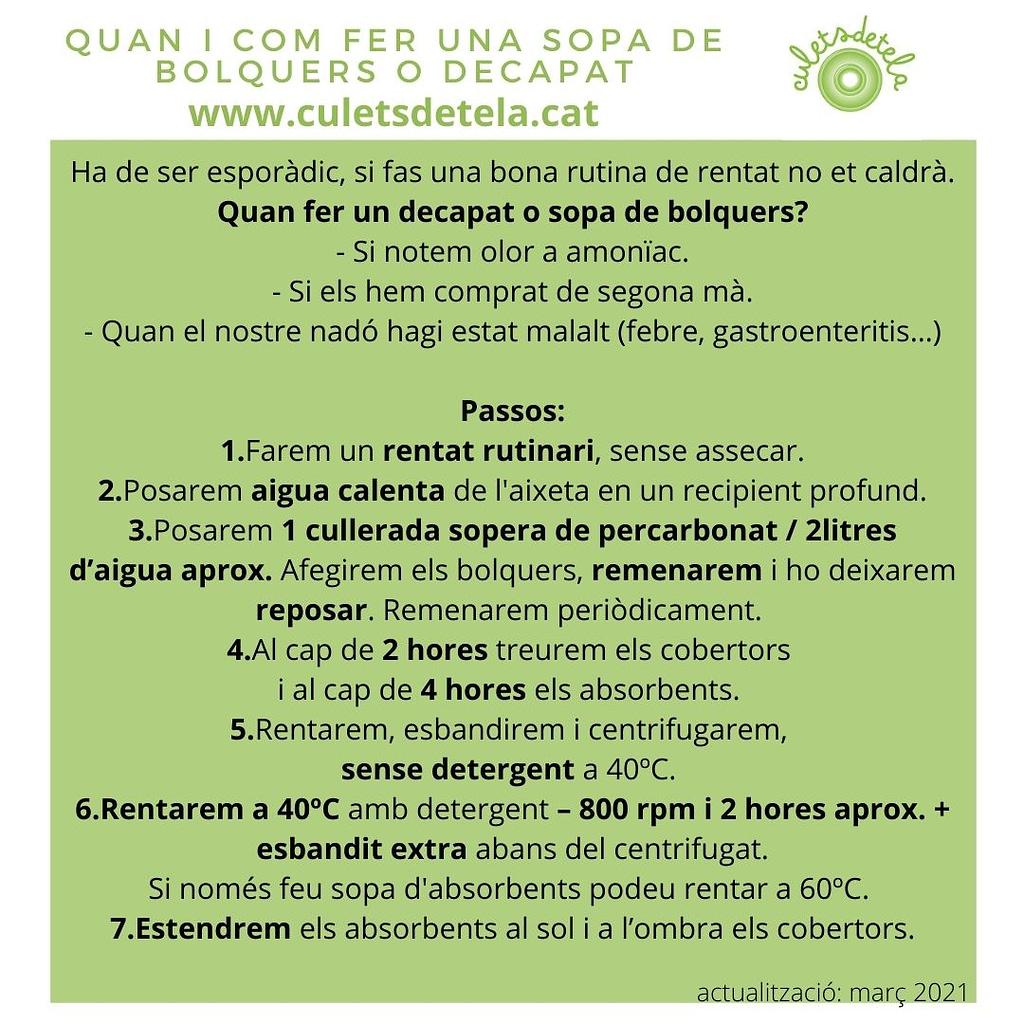 SOPA DE BOLQUERS DECAPAT BOLQUERS DE TELA CULETS DE TELA